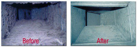 the inside of air ducts before and after cleaning services