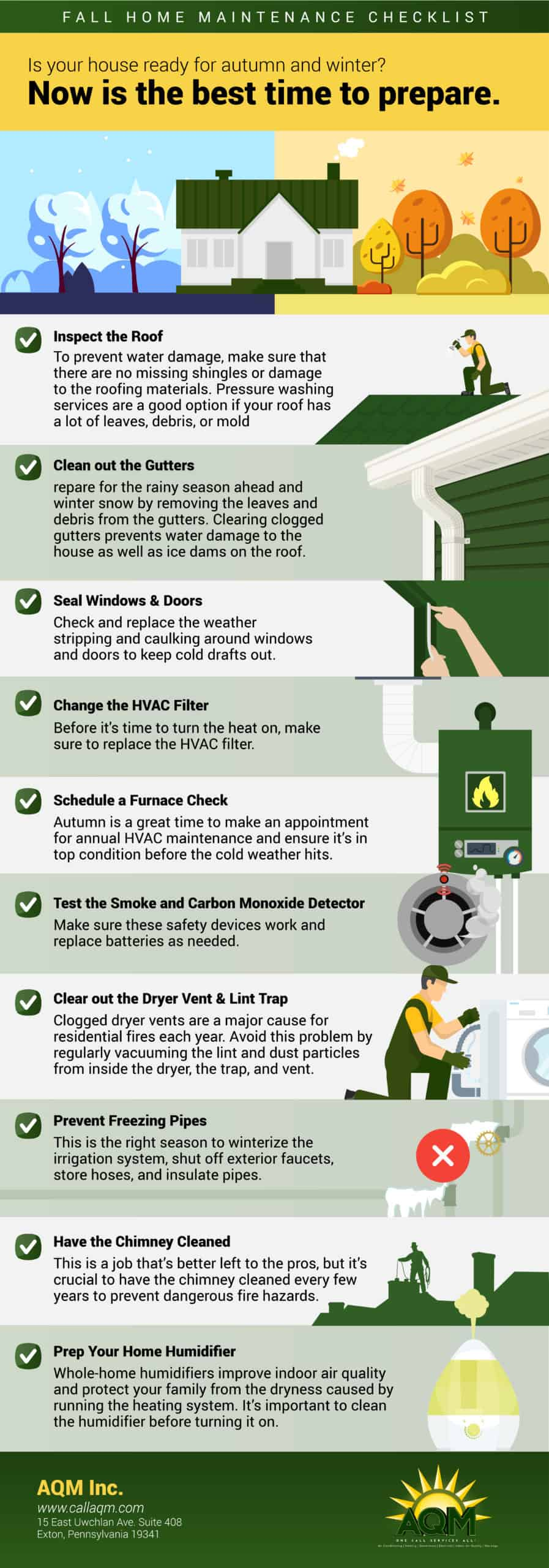 Illustrated checklist of fall home maintenance projects