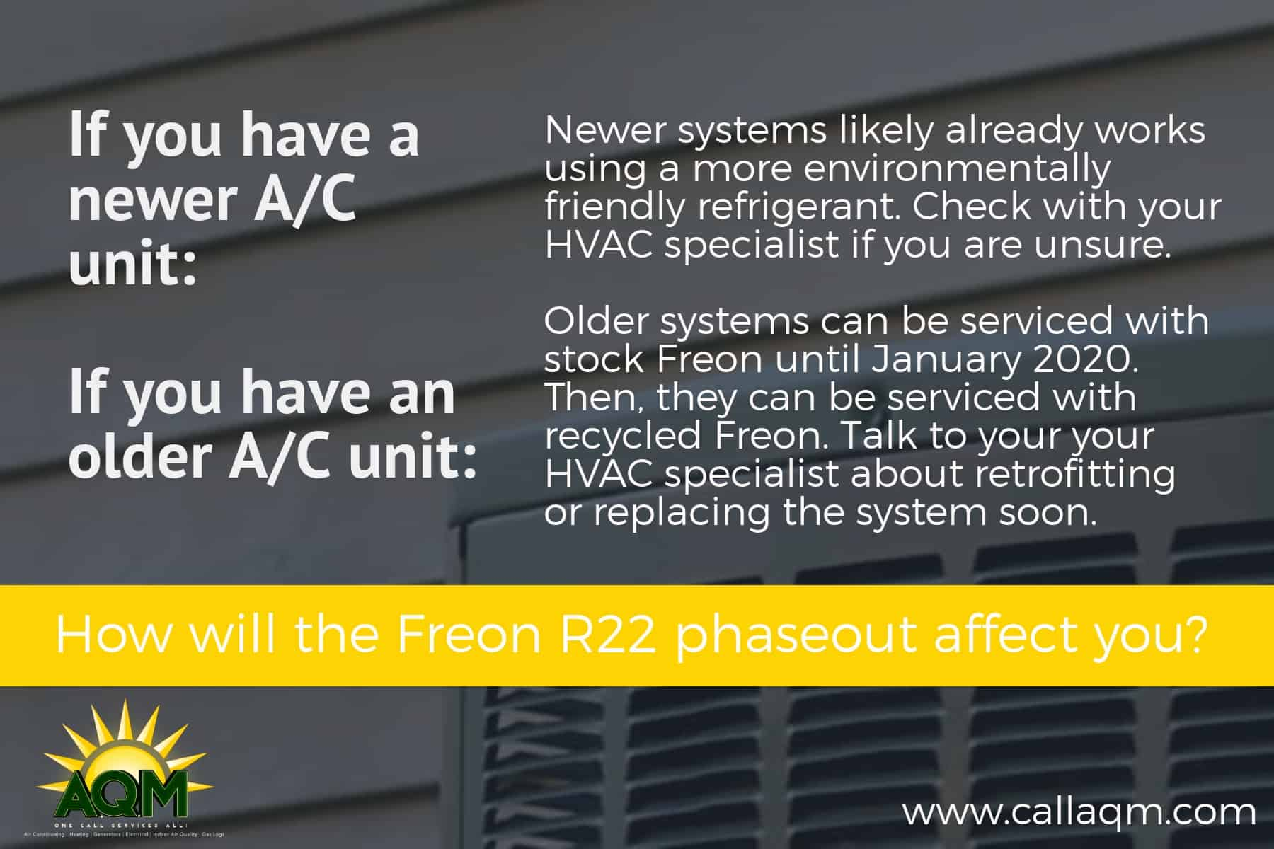 Information about air conditioning units running on Freon related to new 2020 regulations.